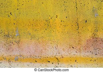 grunge, gul, målat vägg