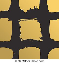 grunge, guld måla, mönster, abstrakt, seamless, illustration, metallisk, bakgrund., squares., vektor, borsta, oavgjord, hand