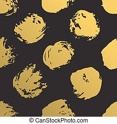 grunge, guld måla, mönster, abstrakt, seamless, illustration, metallisk, bakgrund., vektor, borsta, oavgjord, circles., hand