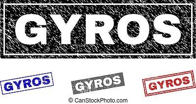 Grunge GYROS Scratched Rectangle Stamp Seals
