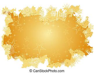 grunge, háttér, hó, arany-, csillaggal díszít, pehely