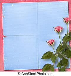 grunge, háttér, helyett, gratuláció, noha, gyönyörű, rózsa