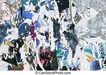 grunge, háttér, noha, öreg, szakadt, plakátok