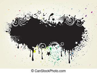 grunge, háttér, tinta