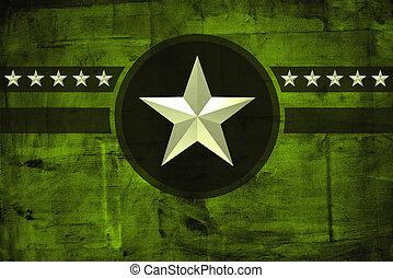 grunge, här, över, bakgrund, militär, stjärna