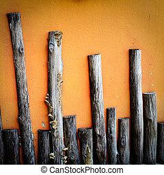 grunge, hölzerne wand, auf, orange hintergrund
