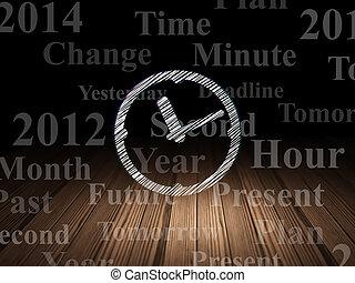 grunge, habitación, reloj, timeline, oscuridad, concept: