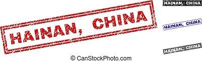 Grunge HAINAN, CHINA Scratched Rectangle Stamp Seals