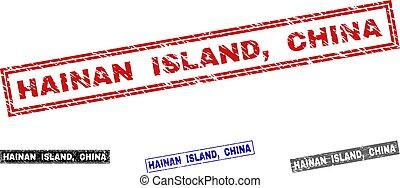 Grunge HAINAN ISLAND, CHINA Scratched Rectangle Stamp Seals