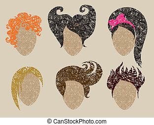 grunge hair styling for woman - Big vector set of grunge...
