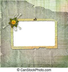 grunge, hajópapírok, tervezés, alatt, scrapbooking, mód, noha, keret, és, virágcsokor