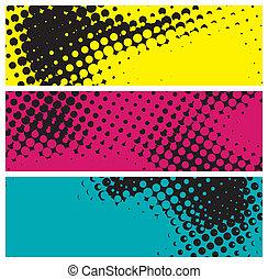 grunge halftone banners, vector illustration
