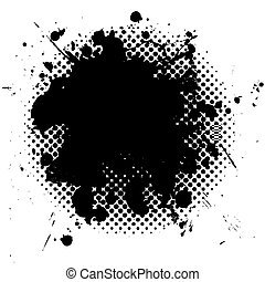 grunge, halftone, czarnoskóry, splat, atrament