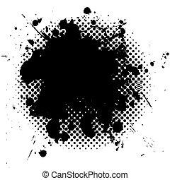 grunge, halftone, nero, splat, inchiostro