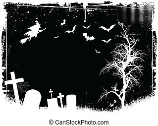 Grunge Halloween background with graveyard, bats and a ...