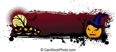 Grunge halloween background with pumpkins