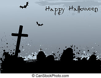 Grunge Halloween background with tombstones