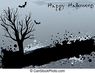 Grunge Halloween background with tree and bats