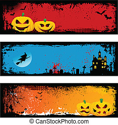Grunge Halloween backgrounds - Collection of three grunge...