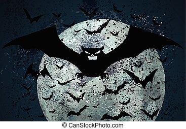Grunge Halloween bat background