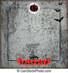 Grunge Halloween Brochure Flyer Concrete Ribbon