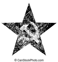 Grunge hammer and sickle on star, vector