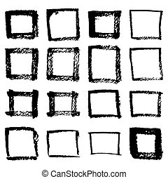 Grunge hand drawn of a square frame isolated on white background