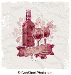 Grunge hand drawn wine bottle & glasses on vintage paper background - vector illustration