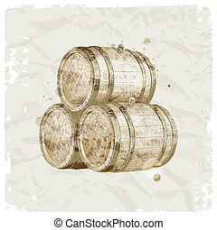Grunge hand drawn wooden barrels on vintage paper background - vector ilustration