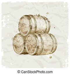 Grunge hand drawn wooden barrels on vintage paper background - vector ilustration