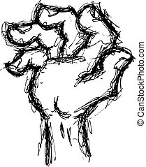 grunge hand in doodle style