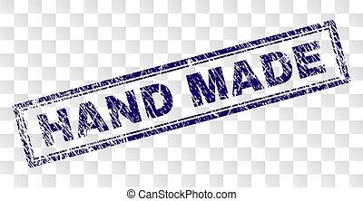 Grunge HAND MADE Rectangle Stamp