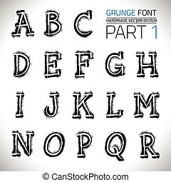 Grunge Hand Made Vector Font Part 1. Vector design elements....