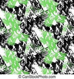 Grunge hand painted abstract pattern with bold textured brushstrokes in bold colors, black, green, white. Seamless vector for winter fall fashion
