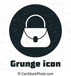 Grunge Handbag icon isolated on white background. Female handbag sign. Glamour casual baggage symbol. Monochrome vintage drawing. Vector Illustration