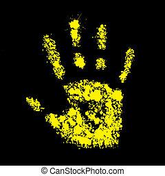grunge, handprint, ilustración, símbolo, vector, amarillo, ...