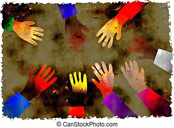 dirt stained grunge textured parchment background design with diverse group of hands