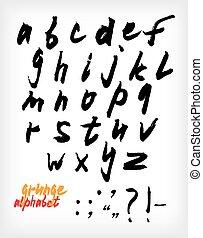 Grunge handwritten alphabet set (vector)