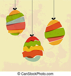 Grunge hanging Easter eggs - Transparent multicolored...