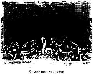 grunge, hangjegy, zene