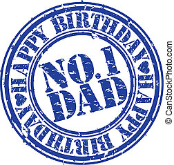 Grunge happy birthday dad, vector