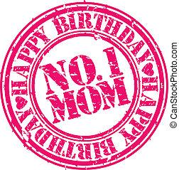 Grunge happy birthday mom, vector