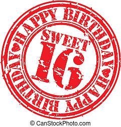 Grunge happy birthday sweet 16 rubber stamp, vector