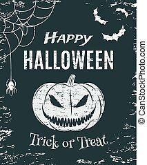 Grunge, Happy Halloween, poster template.