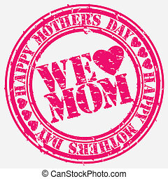 Grunge Happy mother's day rubber stamp, vector