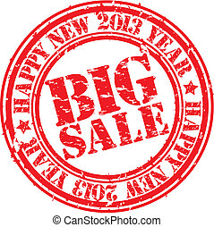Grunge happy new 2013 year big sale rubber stamp, vector