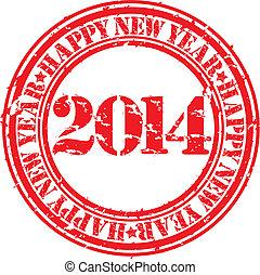 Grunge happy new 2014 year, illustr