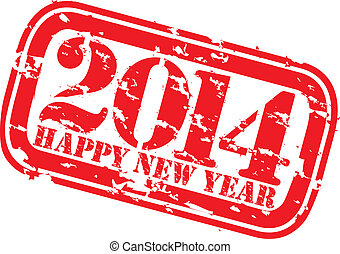 Grunge happy new 2014 year rubber stamp, vector illustration...