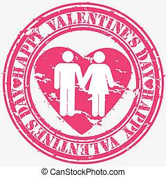 Grunge Happy Valentine's day rubber