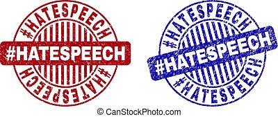 Grunge #HATESPEECH Textured Round Watermarks